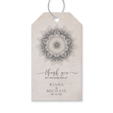 Wedding Themed Mandala Lace Wedding Neutrals ID478 Gift Tags
