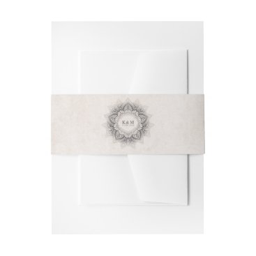 Wedding Themed Mandala Lace Wedding Neutrals ID478 Invitation Belly Band