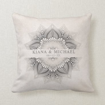 Wedding Themed Mandala Lace Wedding Newlyweds Neutrals ID478 Throw Pillow