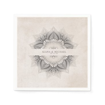 Wedding Themed Mandala Lace Wedding Party Supplies Neutrals ID478 Napkin