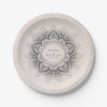 Wedding Themed Mandala Lace Wedding Party Supplies Neutrals ID478 Paper Plate