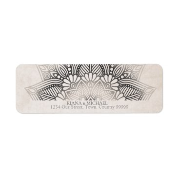 Wedding Themed Mandala Lace Wedding Return Address Neutrals ID478 Label
