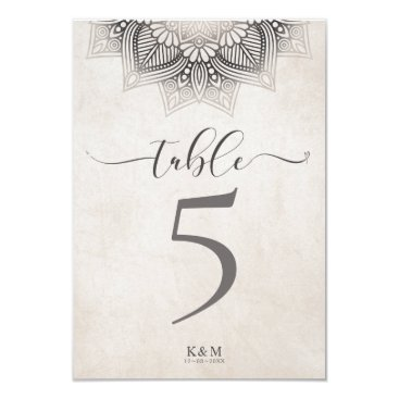 Wedding Themed Mandala Lace Wedding Table Numbers Neutrals ID478