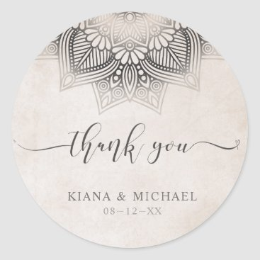 Wedding Themed Mandala Lace Wedding Thank You Neutrals ID478 Classic Round Sticker