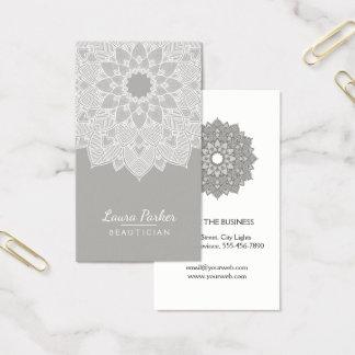 Mandala Lotus Flower Yoga Gray White Clean Business Card