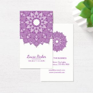 Mandala Lotus Flower Yoga  Meditation Purple Business Card