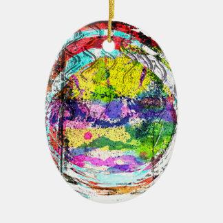 Mandala Love Double-Sided Oval Ceramic Christmas Ornament