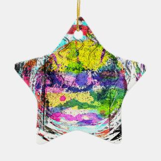 Mandala Love Double-Sided Star Ceramic Christmas Ornament