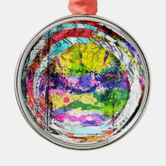 Mandala Love Round Metal Christmas Ornament