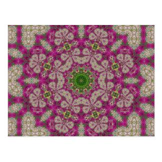 Mandala magenta del cordón de las flores postales