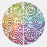 Mandala mágica de la rueda de color etiquetas redondas