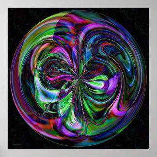 Mandala mágica del bastón - impresión del fractal poster