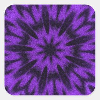 Mandala manchada de la púrpura del leopardo pegatina cuadrada