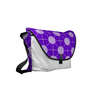 Mandala mosaic patchwork purple and mauve small messenger bag