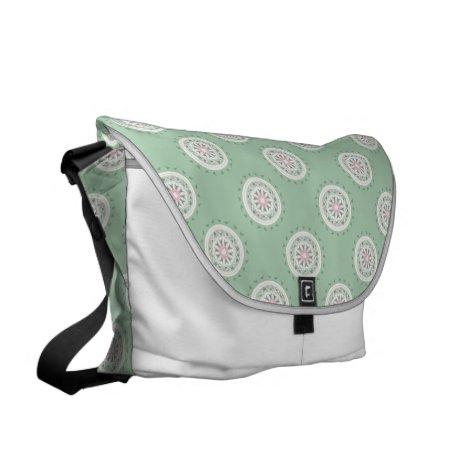Mandala mosiac patchwork mint green and pink messenger bag