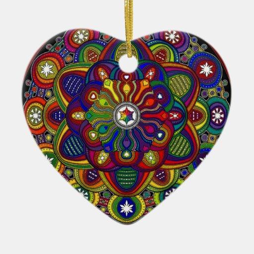 Mandala multicolor amor y protección - M2 Adorno Navideño De Cerámica En Forma De Corazón