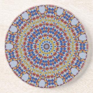 Mandala multicolored plastic components beverage coaster