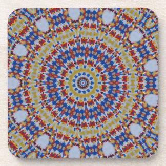 Mandala multicolored plastic components drink coasters