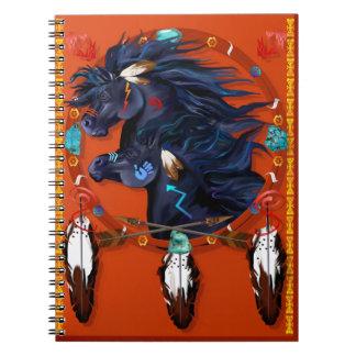 Mandala negra de dos caballos libros de apuntes