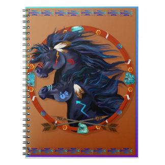 Mandala negra del caballo cuaderno