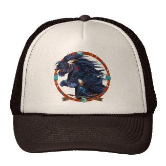 Mandala negra del caballo gorra