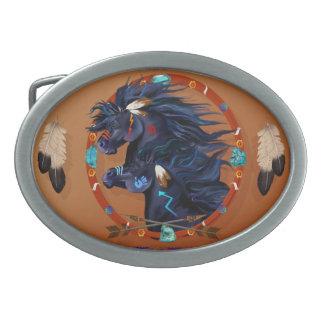 Mandala negra del caballo hebillas de cinturón ovales