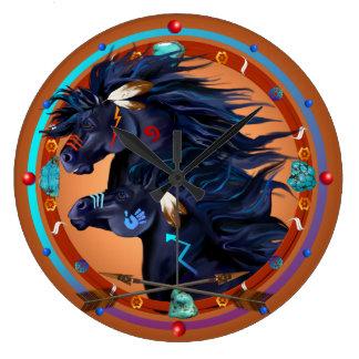 Mandala negra del caballo reloj redondo grande