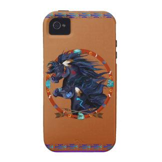 Mandala negra del caballo vibe iPhone 4 carcasa