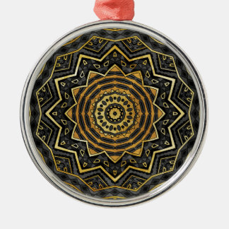 Mandala negra del zafiro adorno navideño redondo de metal