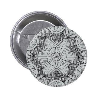 Mandala negra dibujada mano pin redondo 5 cm