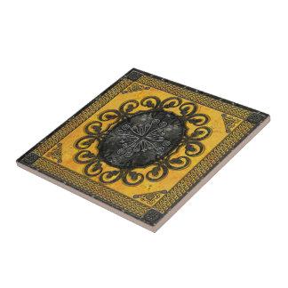 Mandala Obsidian Cross Tile