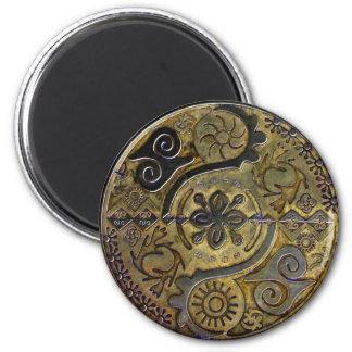 Mandala of African symbols in gold ~ magnet Fridge Magnets