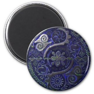 Mandala of African symbols in indigo ~ magnet Magnet