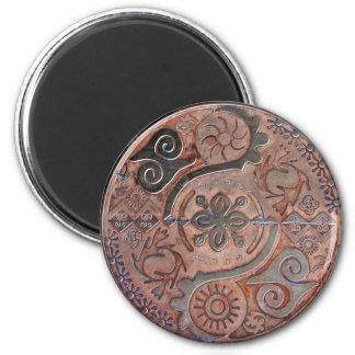 Mandala of African symbols in pink copper ~ magnet Fridge Magnet