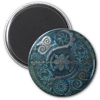 Mandala of African symbols in turquoise ~ magnet Magnets