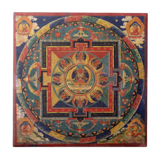 Mandala of Amitayus. 19th century Tibetan school Ceramic Tile