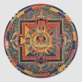 Mandala of Amitayus. 19th century Tibetan school Classic Round Sticker