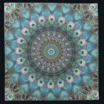 "Mandala Of Peacock Eyes Cloth Napkin<br><div class=""desc"">Still Life Of Peacock Feathers With Added Kaleidoscope Effect Hue And Texture</div>"