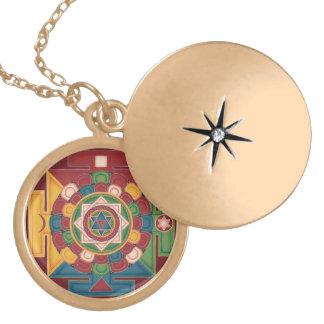 Mandala of the 5 Earth Elements - round locket