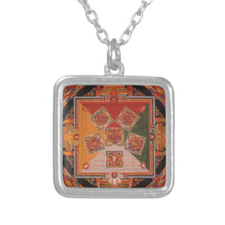 Mandala Of The Six Chakra Square Pendant Necklace