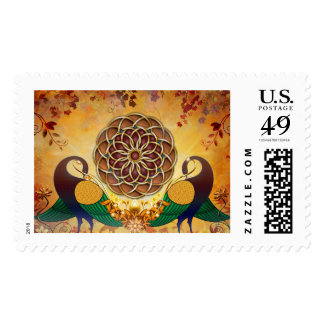 Mandala of the Two Peacocks Stamp