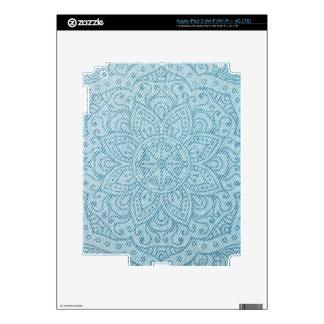 Mandala on Light Blue Jeans Skins For iPad 3