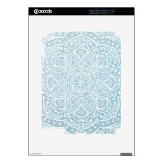 Mandala on Light Blue Jeans Skins For The iPad 2