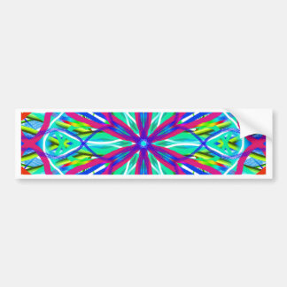 Mandala On White With Blue Pink And Red Bumper Sticker