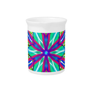 Mandala On White With Blue Pink And Red Drink Pitcher