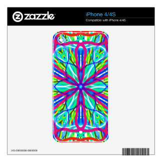Mandala On White With Blue Pink And Red Skins For iPhone 4S
