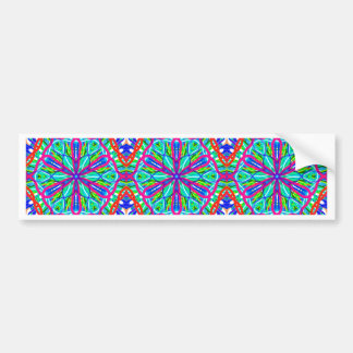 Mandala On White With Blue Pink And Red - Tiled Bumper Sticker