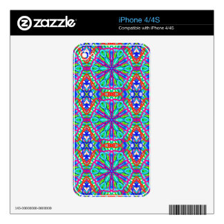 Mandala On White With Blue Pink And Red - Tiled Decals For The iPhone 4S