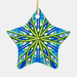 Mandala On White With Yellow And Blue Ceramic Ornament