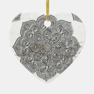 Mandala on white wood ceramic ornament
